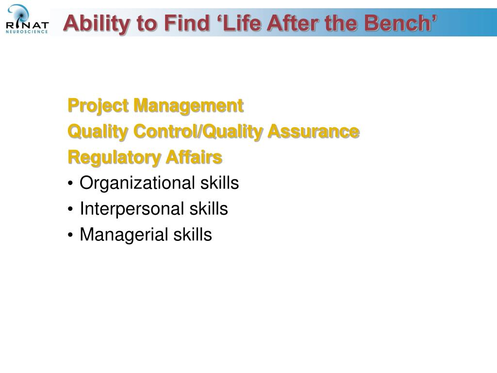 Ability to Find 'Life After the Bench'
