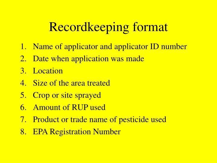 Recordkeeping format