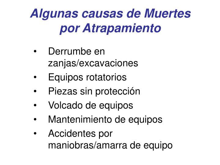 Algunas causas de muertes por atrapamiento