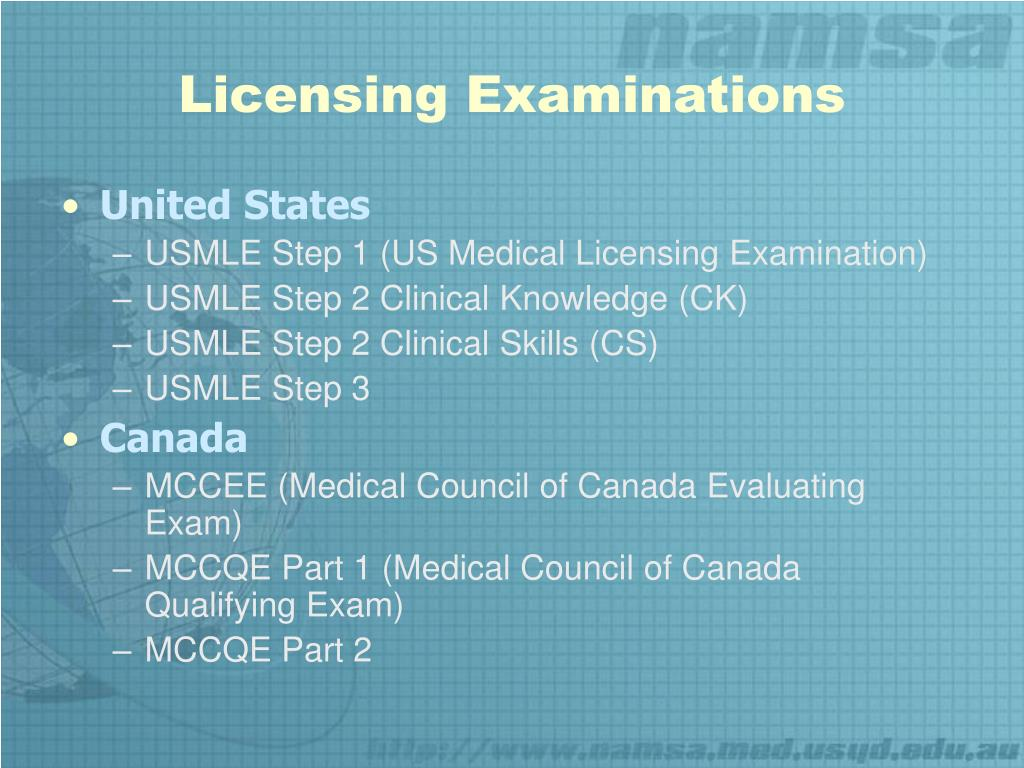 PPT - Licensing Exams USMLE MCCEE/MCCQE PowerPoint Presentation - ID