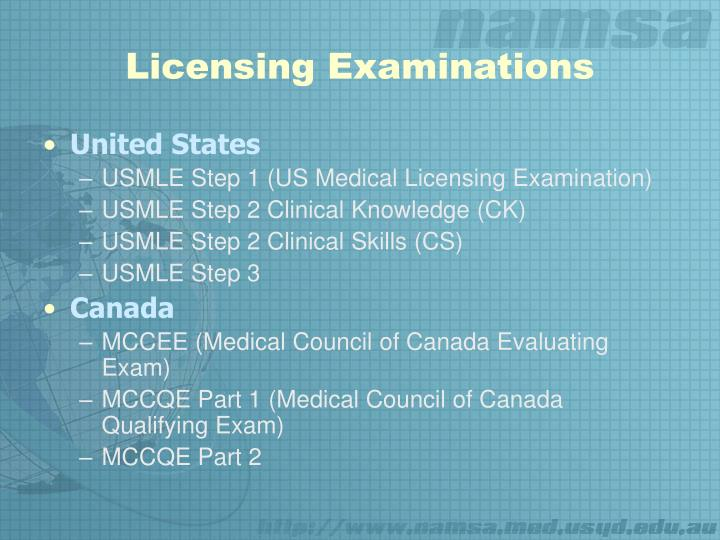 Licensing examinations