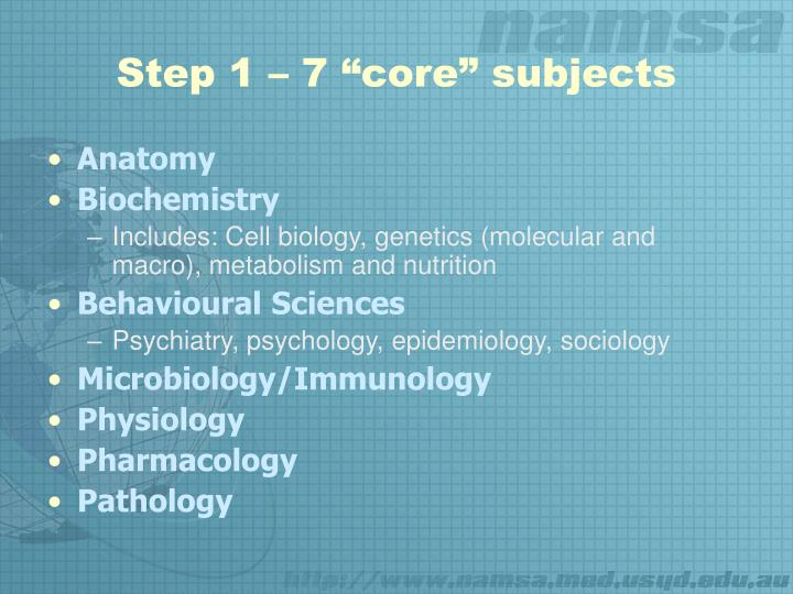 """Step 1 – 7 """"core"""" subjects"""