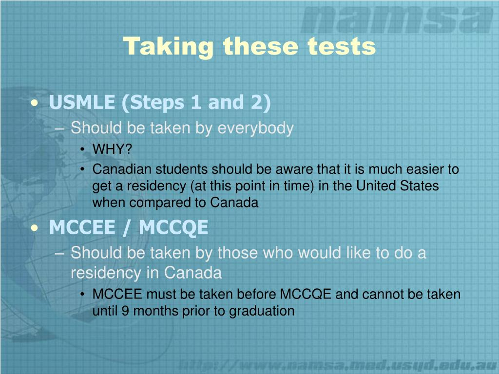 PPT - Licensing Exams USMLE MCCEE/MCCQE PowerPoint