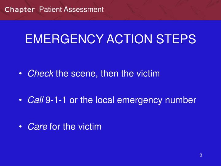 Emergency action steps
