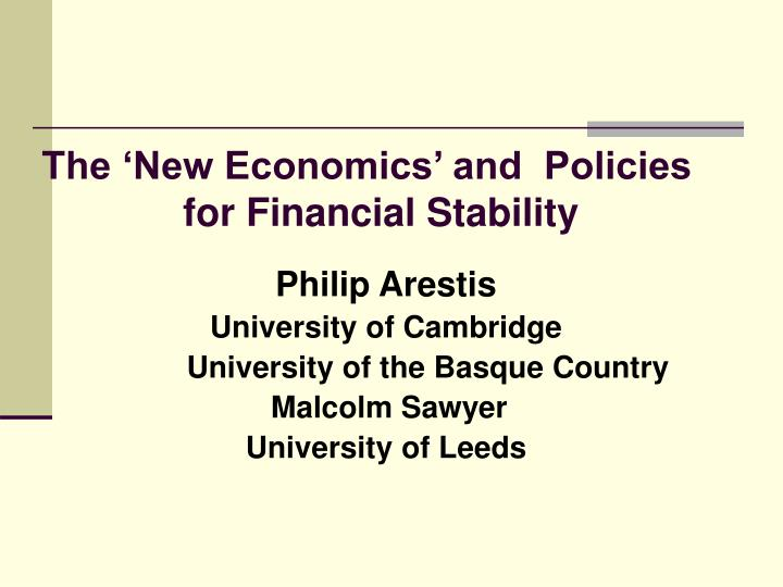 the new economics and policies for financial stability n.