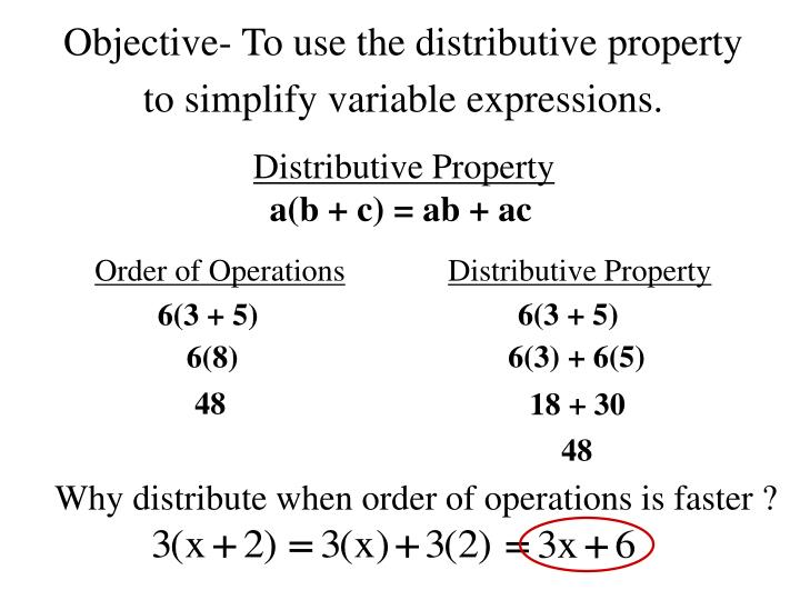 objective to use the distributive property to simplify variable expressions n.