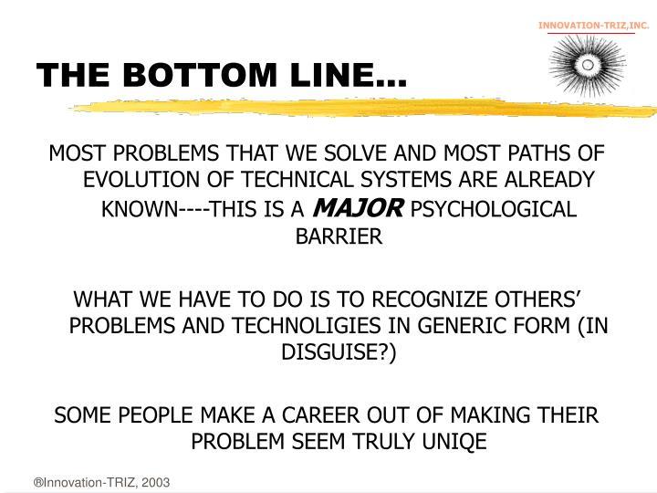 THE BOTTOM LINE...
