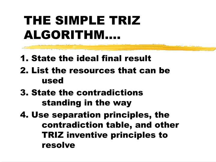THE SIMPLE TRIZ ALGORITHM….
