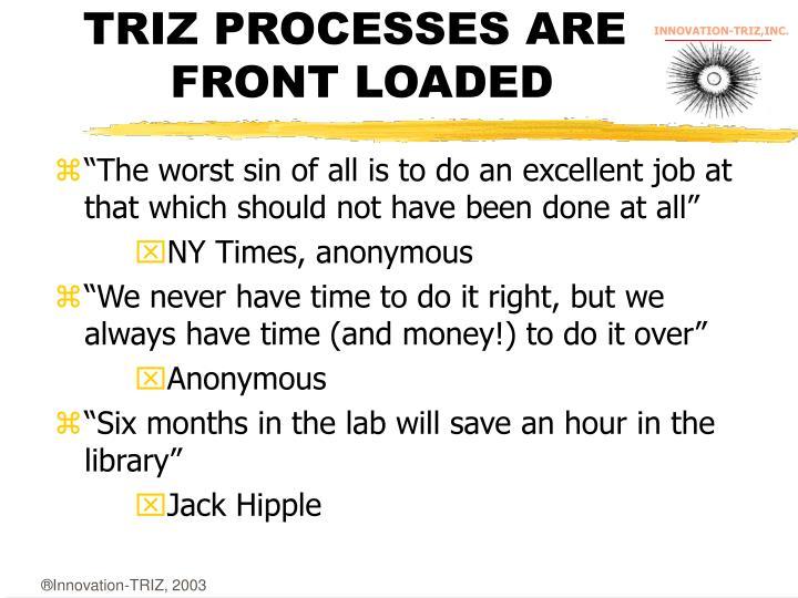 TRIZ PROCESSES ARE