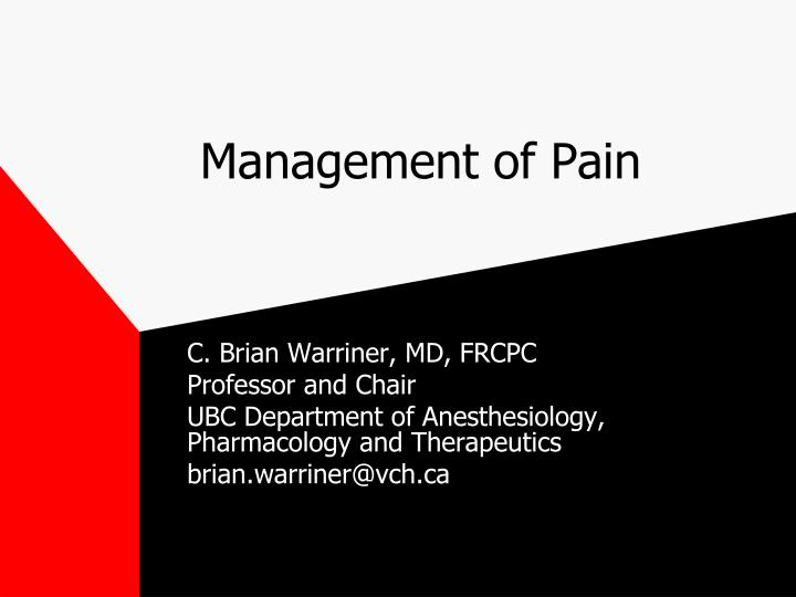 management of pain n.