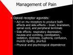 management of pain17