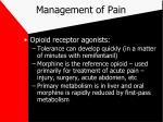 management of pain18