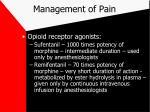 management of pain22