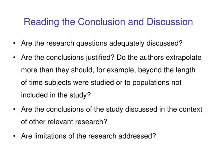 Reading the Conclusion and Discussion