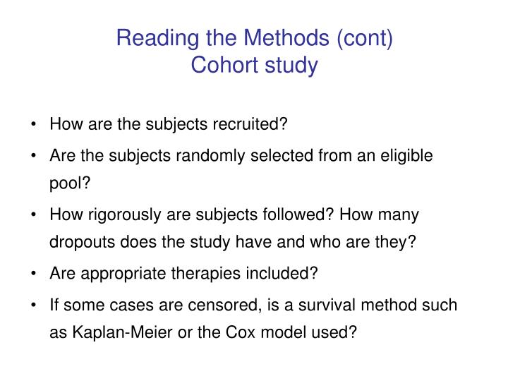 Reading the Methods (cont)