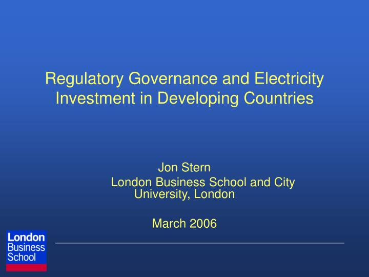 regulatory governance and electricity investment in developing countries n.
