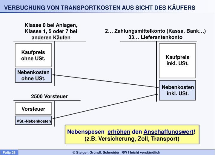 Verbuchung von transportkosten aus sicht des k ufers