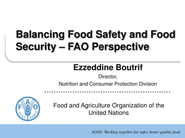 balancing food safety and food security fao perspective n.
