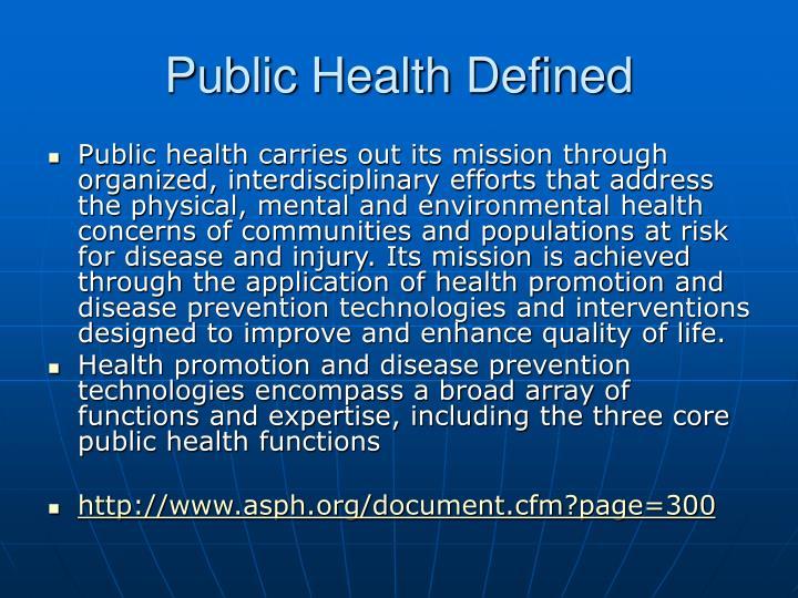 Public health defined