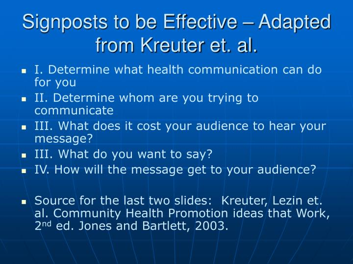 Signposts to be Effective – Adapted from Kreuter et. al.