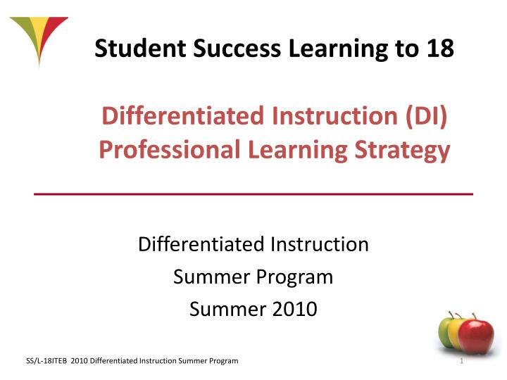 Ppt Student Success Learning To 18 Differentiated Instruction Di