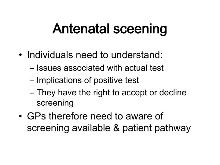 Antenatal sceening