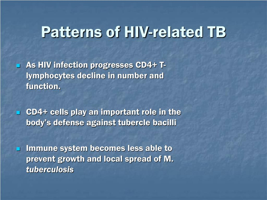 Patterns of HIV-related TB