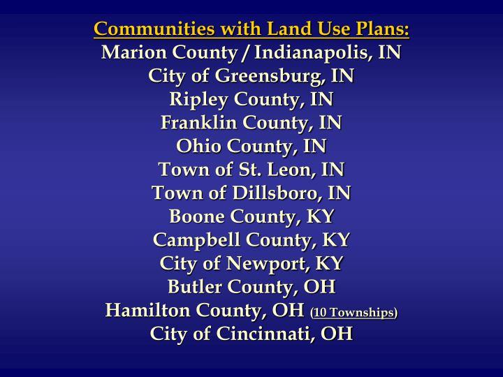 Communities with Land Use Plans: