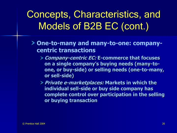 Concepts, Characteristics, and Models of B2B EC (cont.)