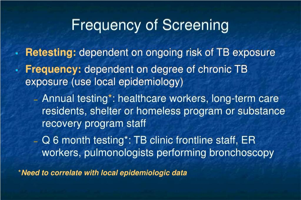 Frequency of Screening