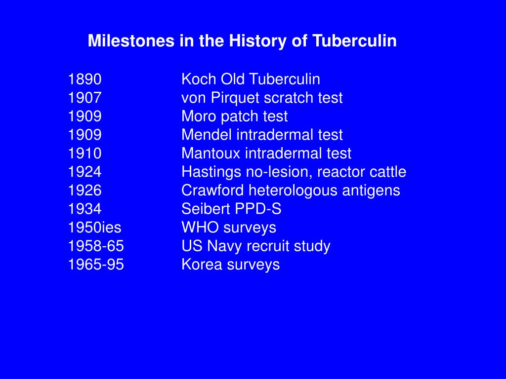 Milestones in the History of Tuberculin