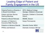 leading edge of patient and family engagement in the us