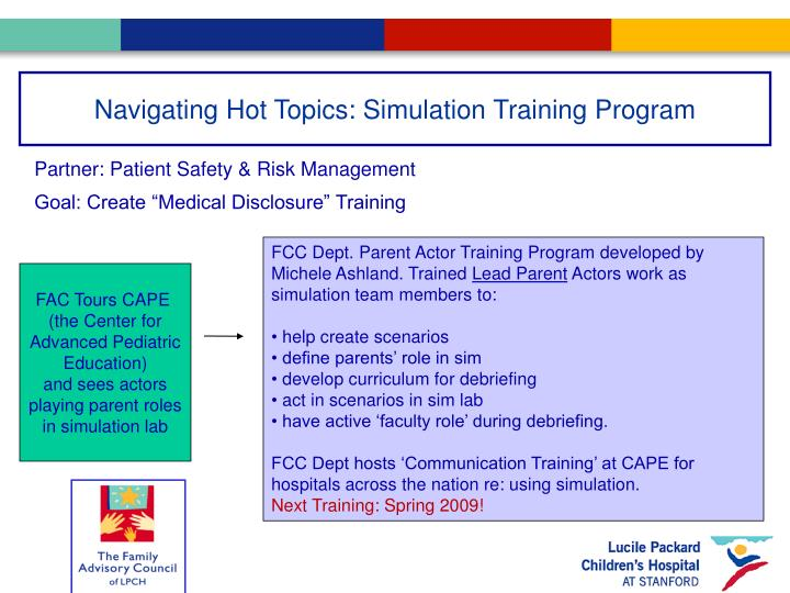 Navigating Hot Topics: Simulation Training Program