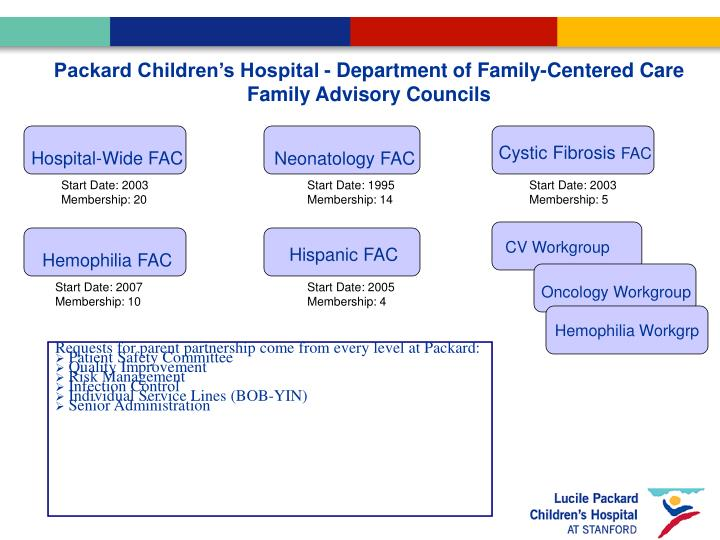 Packard Children's Hospital - Department of Family-Centered Care