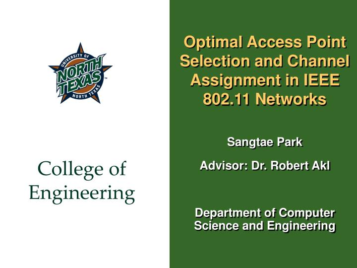 optimal access point selection and channel assignment in ieee 802 11 networks n.