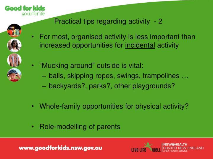 Practical tips regarding activity  - 2