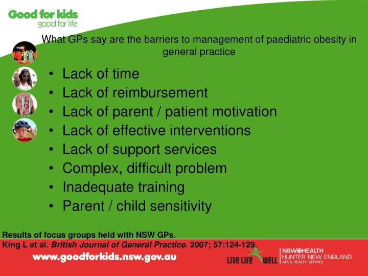 What GPs say are the barriers to management of paediatric obesity in general practice