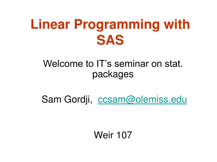 linear programming with sas n.