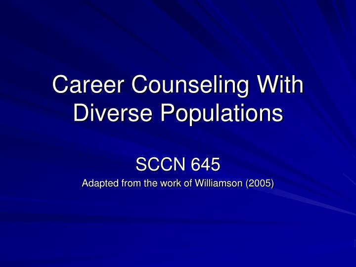 career counseling with diverse populations n.