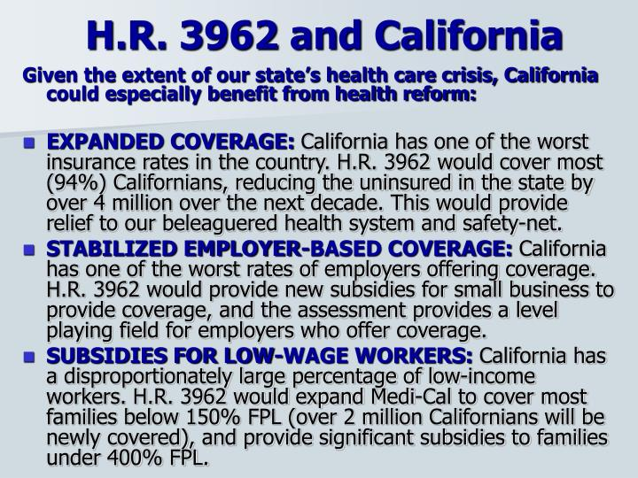 H.R. 3962 and California