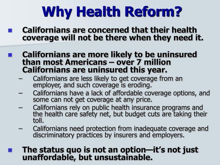 Why Health Reform?