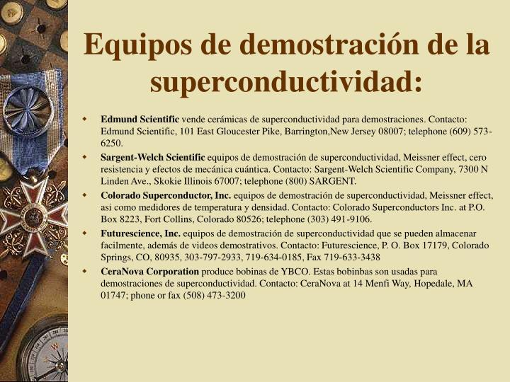 Equipos de demostración de la superconductividad