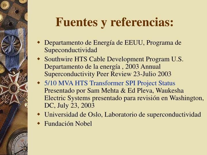 Fuentes y referencias: