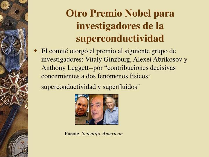 Otro Premio Nobel para investigadores de la superconductividad