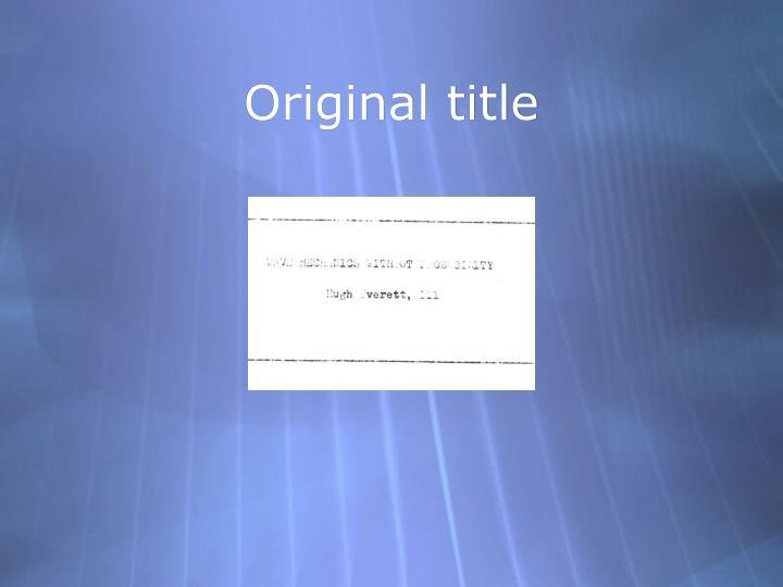 Original title