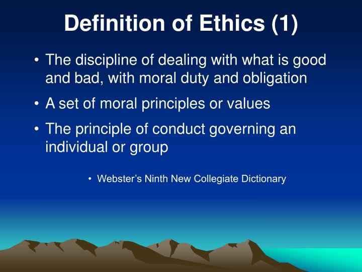definition of ethics 1 n.