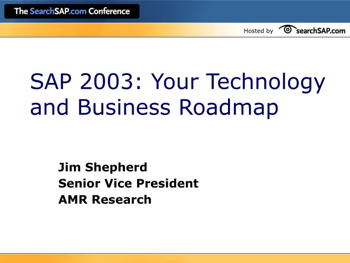 sap 2003 your technology and business roadmap n.