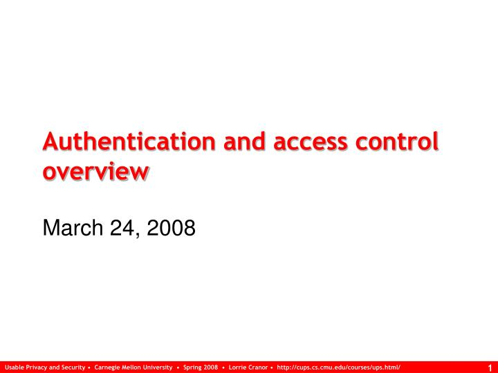 authentication and access control overview n.