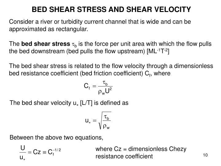 BED SHEAR STRESS AND SHEAR VELOCITY