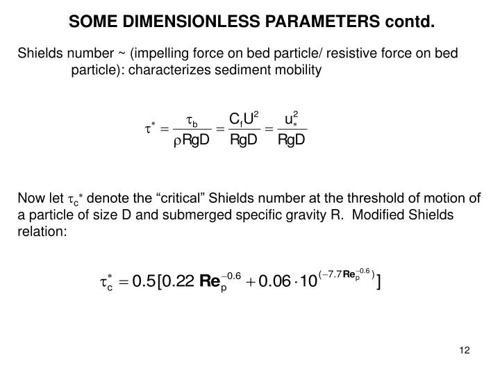 SOME DIMENSIONLESS PARAMETERS contd.